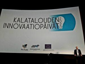 Risto Lampinen avaamassa Kalatalouden innovaatiopäiviä