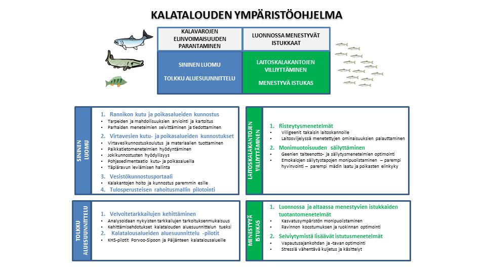 Kalatalouden ympäristöohjelma pyrkii parantamaan kalavarojen elinvoimaisuutta ja edistämään istukkaiden menestymistä luonnossa.