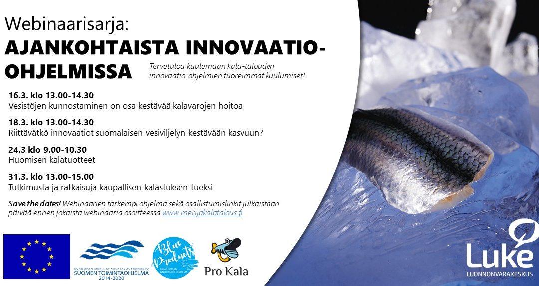 Webinaarisarja kertoo kalatalouden innovaatio-ohjelmien ajankohtaiset kuulumiset