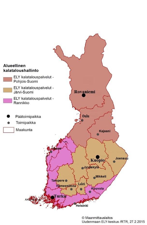 Suomen kalataloutta hallinnoivat ELY-keskukset ja niiden hallinnointialueet kartalla.